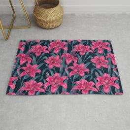 Pink lily flowers Rug