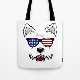 Westie Dog Face with American Flag Sunglasses Tote Bag