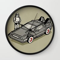 delorean Wall Clocks featuring Stormtrooper and his Delorean by Vin Zzep