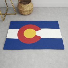 Blue Red and Gold Flag of Colorado Rug