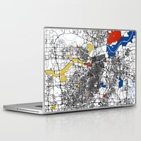 kansas city Laptop & iPad Skins featuring Kansas city mondrian map by Mondrian Maps