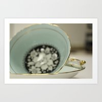 Blue Flowered Teacup Art Print