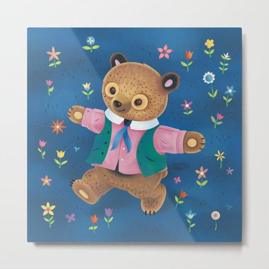 Little Bear and the Flower Garden Metal Print