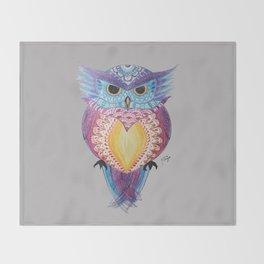 Henna Owl Throw Blanket
