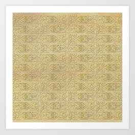 Golden Celtic Pattern on canvas texture Art Print