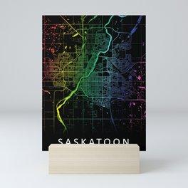 Saskatoon, SK, Canada, City, Map, Rainbow, Map, Art, Print Mini Art Print