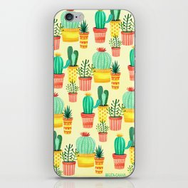 Hello! Colorful Watercolor Cactus and Succulent in Patterned Planters iPhone Skin