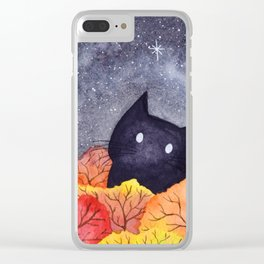 Starry Autumn Cat Watercolor Clear iPhone Case