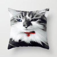 kiki Throw Pillows featuring Mr. Kiki by  Naartjie Photography