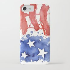 American Flag Watercolor Abstract Stars and Stripes Slim Case iPhone 7
