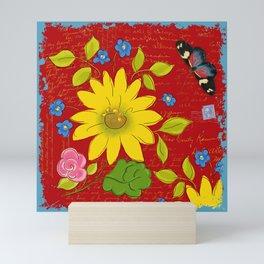 Sunflower on Red Mini Art Print