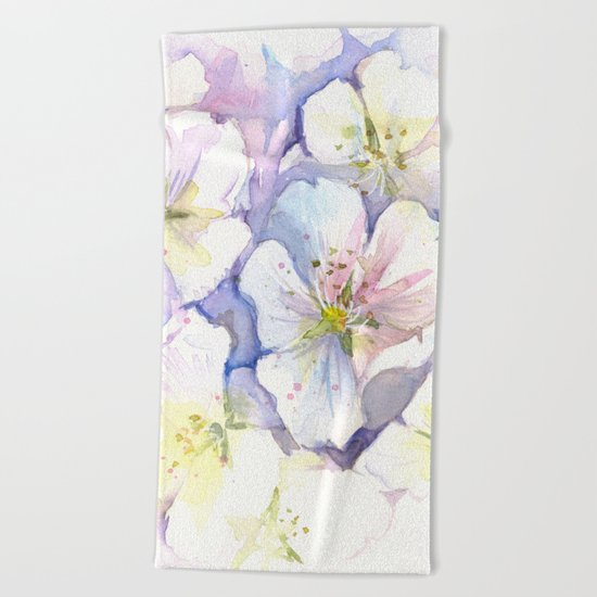 Cherry Blossoms Flowers Spring Floral Beach Towel