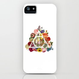 Floral Deathly Hallows Owl and Stag - White iPhone Case