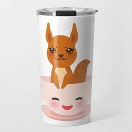 Cute Kawai pink cup with red squirrel Travel Mug