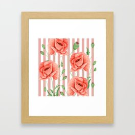 Poppies Dusty Pink Stripes Framed Art Print