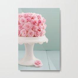Cake with sugar roses Metal Print