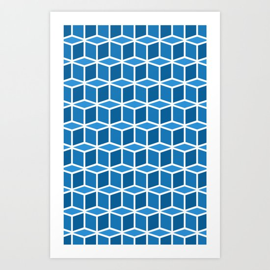 Blue Boxes Art Print