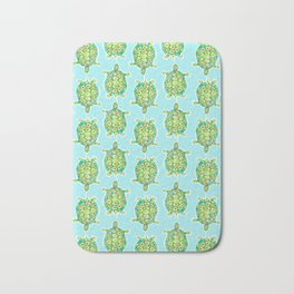 Tortoise Pattern with aqua background Bath Mat