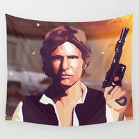 han solo Wall Tapestries featuring Han Solo by Cesar Carlevarino