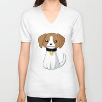 beagle V-neck T-shirts featuring Beagle by Freeminds