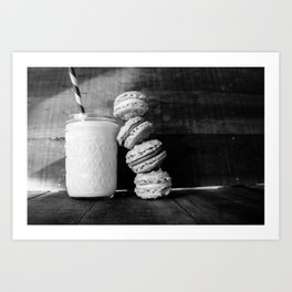 Beer Macarons in Black and White Art Print