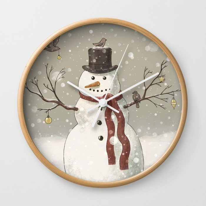 Christmas snowman wall clock by igo cairo society