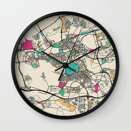 Colorful City Maps: Rotterdam, Netherlands Wall Clock