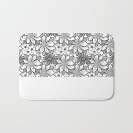 Black and White Floral Drawing Bath Mat