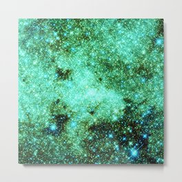 GaLAXY Sparkle Stars : Emerald Green Blue Metal Print