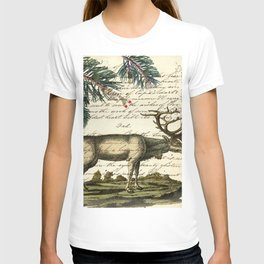 western country primitive christmas mountain animal wildlife winter pine tree elk T-shirt