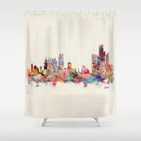 detroit Shower Curtains featuring detroit michigan by bri.buckley