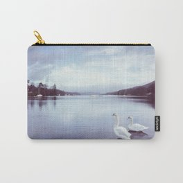 Swans on the shore of Lake Windermere at dawn. Cumbria, UK. (Shot on film). Carry-All Pouch