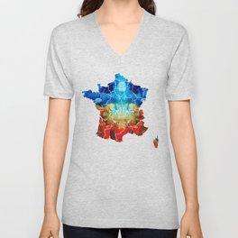 France - European Map by Sharon Cummings Unisex V-Neck