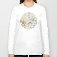 marble Long Sleeve T-shirts featuring Gold marble by Marta Olga Klara