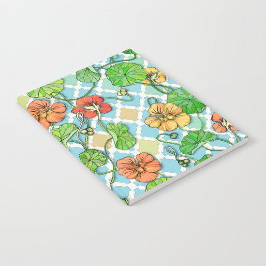 Climbing Nasturtiums on Blue and White Notebook