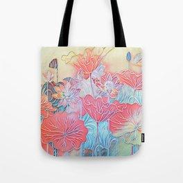 Painted Lotus Tote Bag