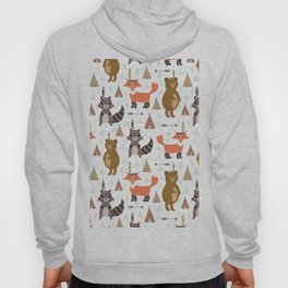 Bohemian orange brown forest animal arrows tribal pattern Hoody