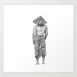 A Man in an asian conical hat Art Print