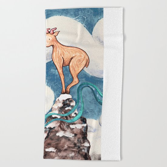 Winter Goat Beach Towel