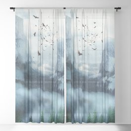Mountain Morning 3 Sheer Curtain