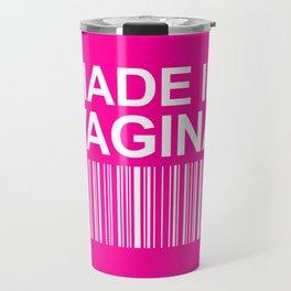 MADE IN VAGINA BABY FUNNY BARCODE (Baby Girl Pink) Travel Mug