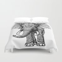 gray pattern Duvet Covers featuring Ornate Elephant by BIOWORKZ