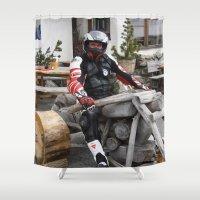 motorbike Shower Curtains featuring On the Motorbike trough AUSTRIA 05 Fun by MehrFarbeimLeben