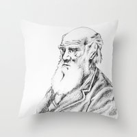 darwin Throw Pillows featuring Charles Darwin by Noelle Fontaine