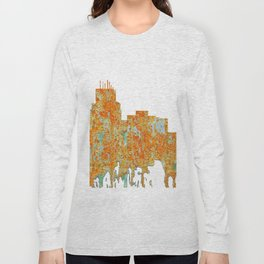 Durham,NC Skyline - Rust Long Sleeve T-shirt