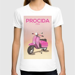 Procida Italy scooter vacation poster T-shirt