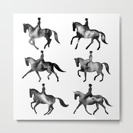 Dressage Horse Silhouettes Metal Print