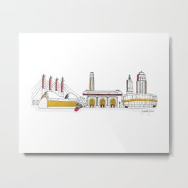 Kansas City Skyline Illustration in KC Football Colors Metal Print