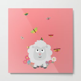 Sheep with flowers and butterflies B1mk7 Metal Print