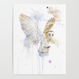 "Watercolor Painting of Picture ""White Owl"" Poster"